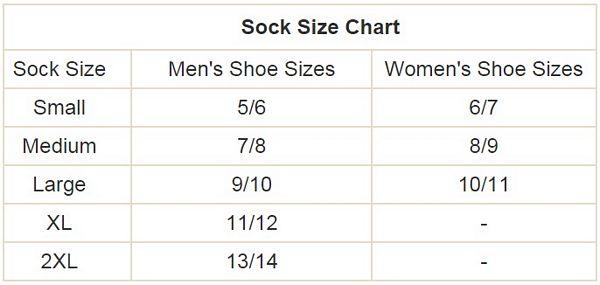 volt battery heated sock size chart