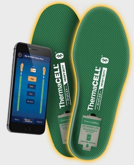Thermacell heated insoles Bluetooth